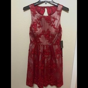 Red Lace Homecoming Prom Dress